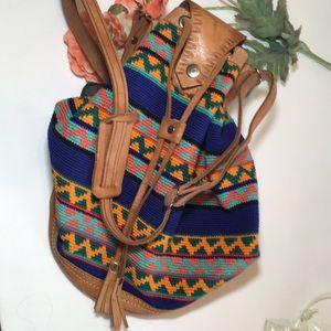 Handbags - COWHIDE EMBROIDERED AZTEC BUCKET BAG